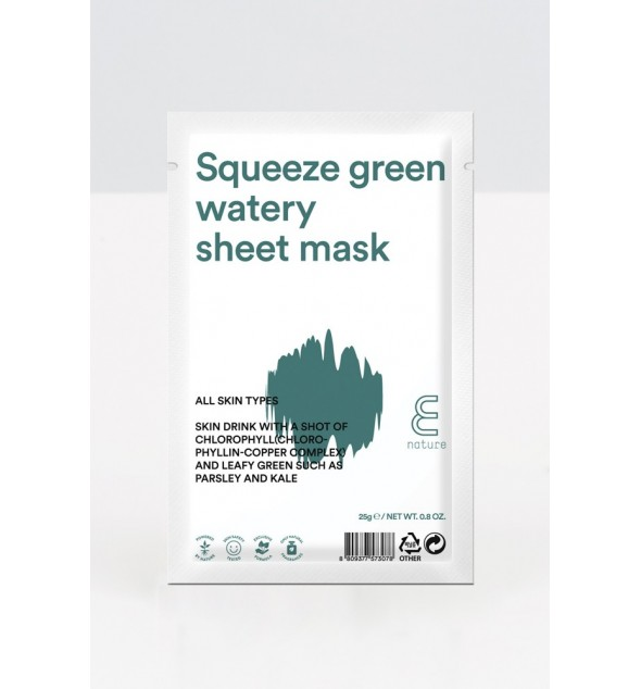 E NATURE SQUEEZE GREEN WATERY SHEET MASK - E-NATURE